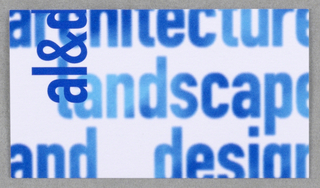 "Business card for Faculty of Architecture Landscape and Design at University of Toronto. Recto: Imprinted horizontally oriented across card, ""faculty of architecture/ landscape/ and design"" (in sky blue/blue).  ""al&d"" in dark blue vertically oriented at upper left on white background.  Verso: Imprinted from top left, left justified, contact information: ""T 416 978 6788/ F 416 971 2094/ wright@clr.utoronto.ca (all in bold)/ Robert M. Wright (in bold) BSc Rec MLA/ Acting Associate Dean/ Director, Programme in Landscape Architecture/ Director, Knowledge Media Design Institute (KMDI)/ Faculty of Architecture, Landscape, and Design/ University of Toronto/ 230 College Street, Toronto ON Canada M5T 1R2"" (in black)."