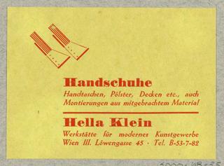 Business Card, Handschuhe [Gloves] Hella Klein