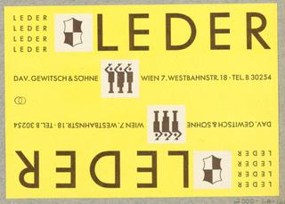 Business Card, Leder, David Gewitsch & Söhne, Wien