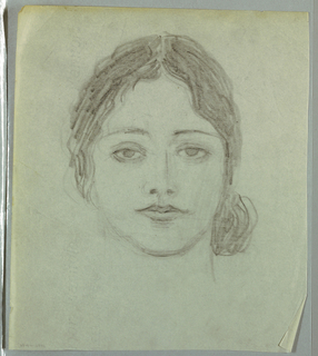 This head-and-neck view of a woman facing front occupies most of the page. Her eyes gaze upward under shaded eyelids and thin, semi-circular brows. A faintly shadowed, vertically slanted line ending in two dark spots within curved outlines comprise her nose. The upper lip is bow-shaped and the bottom lip full. The jaw line and chin are rounded. Wavy hair, parted in the center, ends on the right in a ball of hair at chin level and is abbreviated on the left at ear level.