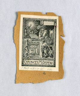 Bookplate reproduction mounted on braown paper: Chauncey M. Depew