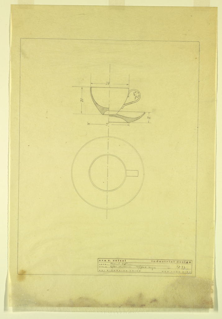 Detailed perspective and plan for a cup and saucer, complete with measurements. In bottom right, printed in burgundy ink with fields entered in graphite, artist's label:  eva s. zeisel industrial design Date: March 45 Title: After Dinner Coffee Cup No. 1234 431 Riverside Drive New York City