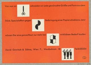Business Card, Von nun an schneiden... David Gewitsch & Söhne