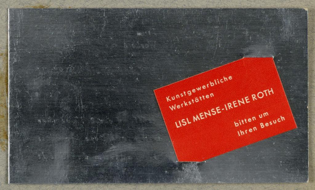 Business Card, Kunstgewerbliche Werkstatten Lisl Mense-Irene Roth [Arts and Crafts Worhshop, Lisl Mense-Irene Roth]