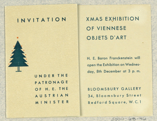 Invitation, Invitation for Xmas Exhibition of Viennese Objets d'Art, Bloomsbury Gallery, London