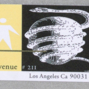 Business card divided into square color and graphic schemes with text throughout. Left, yellowish box containing peach colored sphere, brown box with small yellow boxes bearing black text: GREIMANSKI@AOL.COM; below, black square with white text: APRIL GREIMAN / APRILISKA; yellow L-shaped box with silhouette of figure standing on a brown line, below, text in black, pink: 620 Moulton Avenue / GREIMANSKI; black box with white image of snake coiled around a sphere (an apple?) and text in white: #211; below in black on white: Los Angeles Ca 90031; white box containing black and gray 3D geometrical shape, with overlapping orange box containing black text: 213 2271222/8651 FAX.
