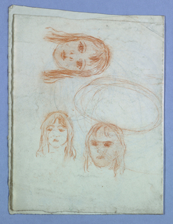 Three partial sketches of a female figure.