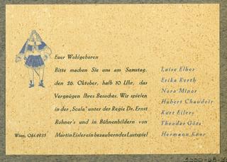 Invitation, Euer Wohlgeboren ... Luise Elber, Erika Kerth ..., Okt. 19