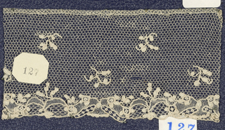 Needle lace, floral pattern; early 18th century Alencon edge sample