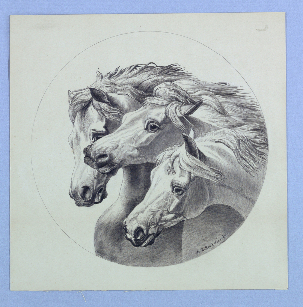 Three horses with long manes within a circular frame.