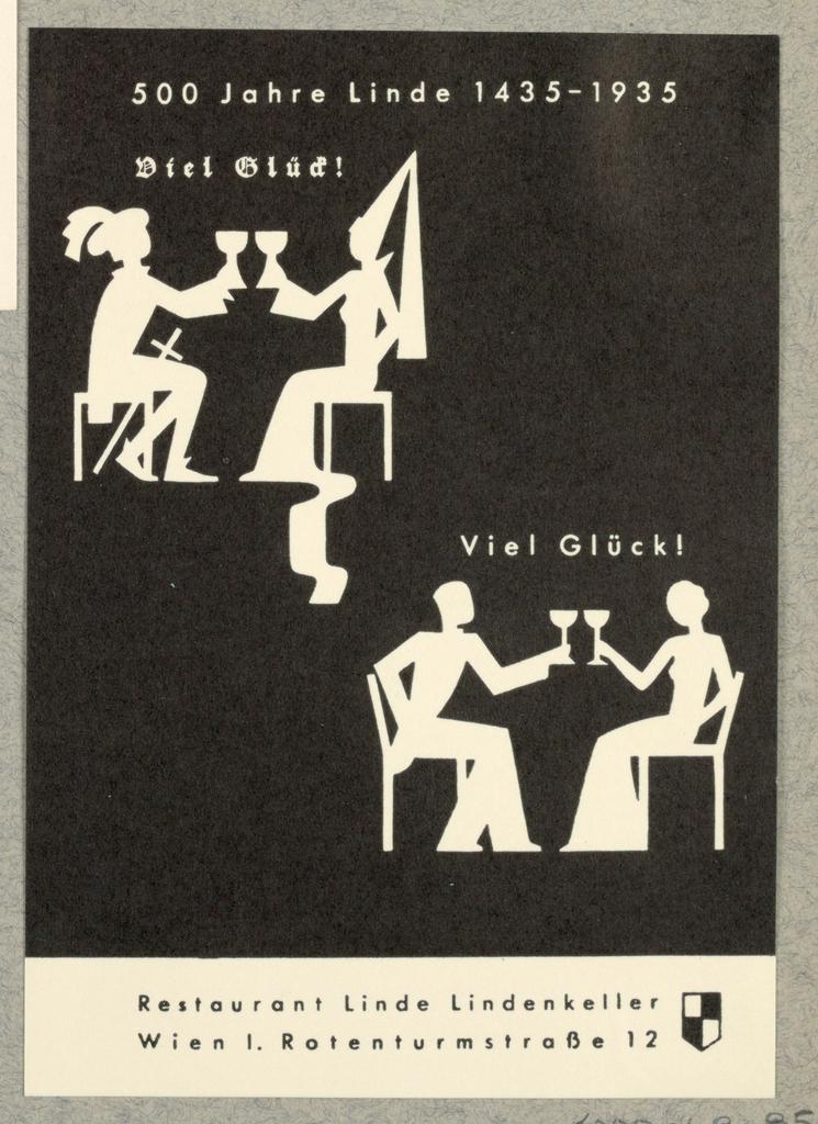 Business Card, Restaurant Linde, 500 Jahre 1435-1935