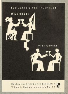 Business Card, Restaurant Linde, 500 Jahre 1435-1935, 1935