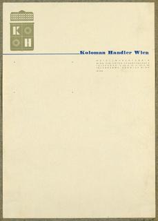Letterhead, Koloman Handler, Wien