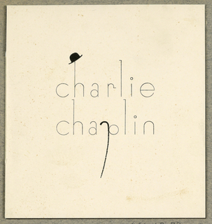 """charlie chaplin"" printed in san-serif type on front of invitation card. Chaplin's characteristic bowler hat hangs from the ascender of an ""h"" and his cane forms the descender of the ""p"""