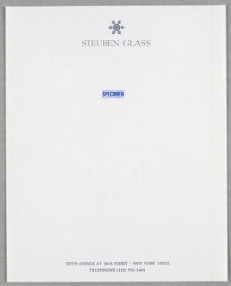"""Snowflake design in raised dark gray at upper center with """"Steuben Glass"""" below."""