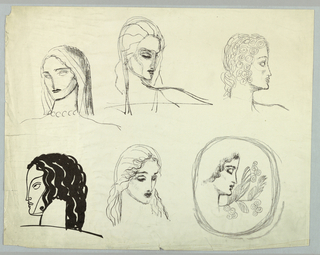 The six female heads are placed on the sheet in two rows of three each. In the original drawings, the designer probably used charcoal in five of the views and pen-and-India ink in the sixth. In the following descriptions, references to drawings and the media relate to original use.  Top row, left: In a three-quarter view of a woman glancing to the left, the face is framed by a scarf-like headdress which extends down to the shoulder line. A wavy line at the face edge of the head gear indicates the hair. The eyes are only suggested by the sockets, while the dark black of the lips calls attention to them. A necklace of large, round beads encircles the neck.  Top row, center: In this three-quarter view, the woman glances to the right, her head tilted downward; the left side of her face is obscured.  The eyelashes and lips are accentuated in dark charcoal. A scarf-like headdress covers her hair. On the right, the multiple thin lines beginning under the chin and extending outward, exaggerate the shoulder.  Top row, right: In this profile view of a woman facing right, the salient feature is the closely cropped hair, arranged in ringlets.  Bottom row, left: In this left-facing view in India ink, the facile profile and features are depicted in outline. There is a long line stretching from the hairline to the tip of the nose, echoed by a curved line from the nose tip to the forehead and a diagonal line from the (hidden) ear to the chin. Thick, black, wavy bands comprise the hair. The stylized features and absence of shading contribute to the sculptural effect of the whole.  Bottom row, center: In this view, the head is turned toward the right. The charcoal is darkest in the lowered eyelids and full mouth. Waved hair frames the face and extends to the shoulders. This head and the one immediately above may be two aspects of the same view.  Bottom row, right: This profile view of a woman facing right, her head tilted downward, is accompanied by a foliate motif to the right. The whole is enclosed in a square shape, its edges rounded, formed by multiple lines. The prototype for the view is perhaps an antique medal or brooch. The hair is depicted from the forehead to the jaw line by one thick, shaded wavy band. The jaw line is also shaded. Dark charcoal is used in the eyebrow, lashes and upper lip. The foliate design, comprised of a curved branch with leaves and spiral forms on either side, is lightly drawn.
