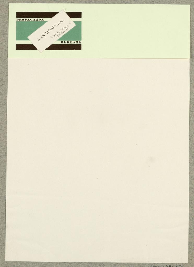 Letterhead, Arch. Alfred Sander, Wien/Propaganda Reklame
