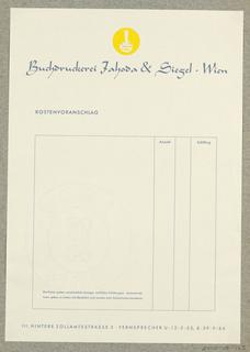 Letterhead, Buchdruckerei Jahoda & Siegel, Wien
