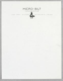 Letterhead, Micro-Bilt/Inc.