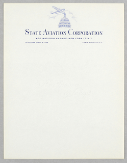 At upper center, image of airplane, in blue ink, flying (from left, towards right) over dome of Capitol Building.  Company name and address imprinted below image.