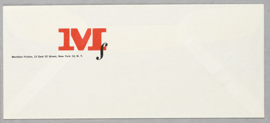 """Envelope for Meridian Fiction. Large red """"M"""" appears left of center. Lowercase black """"f"""" printed at its lower right, styled so that it overlaps the """"M.""""  Address and contact information printed in black at left center."""