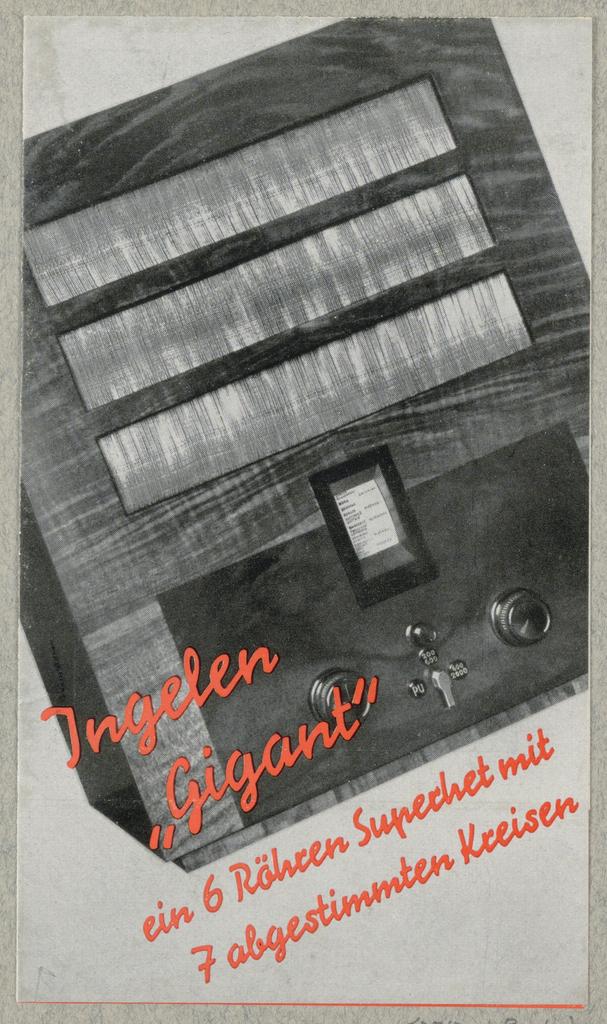 """Brochure, Ingelen """"Gigant"""" [Ingelen """"Giant""""]"""