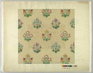 Clusters of flowers on tan background. Color chart at lower right.