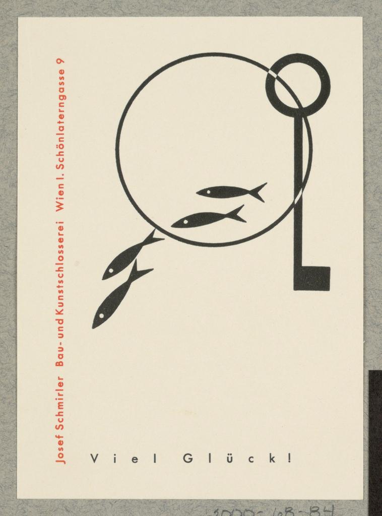 Business Card, Josef  Schmirler Bau -und Kunstschlossei, Wien: Viel Gluck! [Good Luck!]