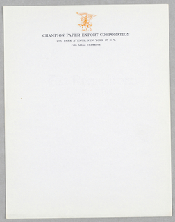 """Imprinted at upper center, in orange raised outlines, image of a knight on horseback carrying a banner that reads """"Champion Papers.""""  Beneath image is company name and address."""