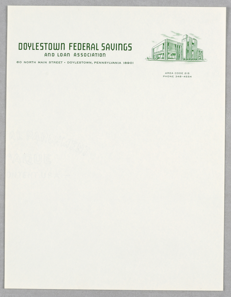 Company name at upper left with address below.  At upper right (printed in green), a three-quarter elevation of the savings and loan building.