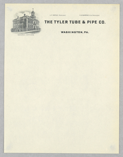 """Upper left, a three quarter elevation of a factory building (with clocktower) identified as """"GENERAL OFFICES"""";  at upper right quadrant of sheet,  company name, location, name of President and Vice President."""