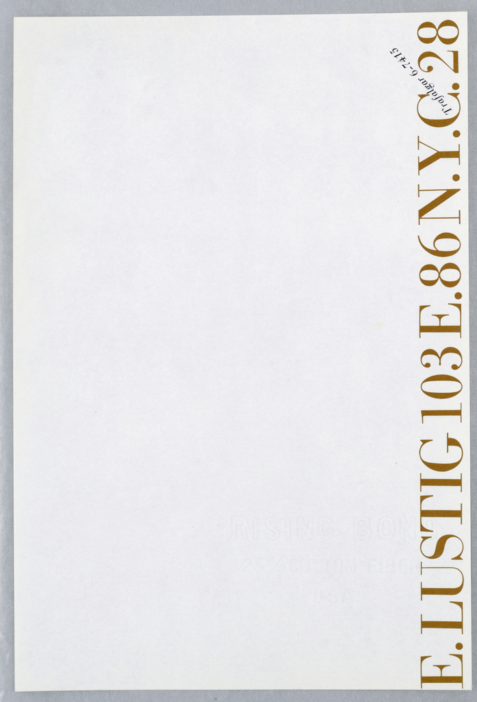 Elaine Lustig letterhead with brown and black printed text printed vertically at left margin on white ground.