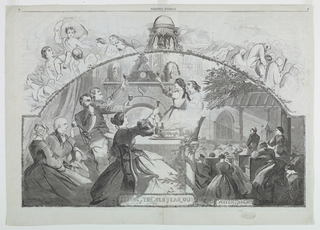 """Double-page spread showing a group toasting before the fireplace. At right, another group at prayer in church, titled """"Watch Night."""""""