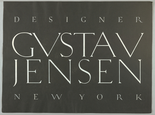 The present logo design, painted in white on black in capitals in an Art Deco typeface, Designer/ Gustav/ Jensen/ New York occupies the entire page.