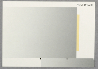 Card with gradient gray and bordered by white, black square; vertical yellow bar. In black, upper right: Swid Powell.