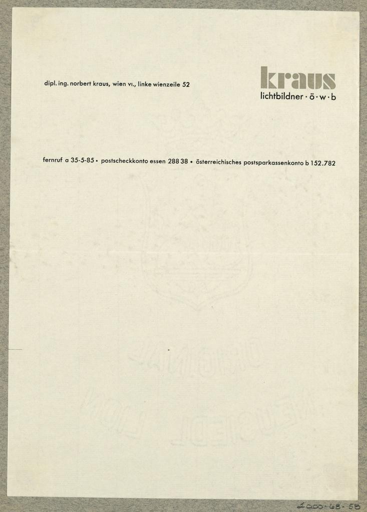 Letterhead, Kraus Lichtbildner, Wien