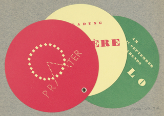 3-part invitation made of 3 circular cards (red, yellow, green), joined with a grommet.