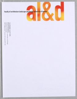 Letterhead for Faculty of Architecture Landscape, and Design at University of Toronto.  