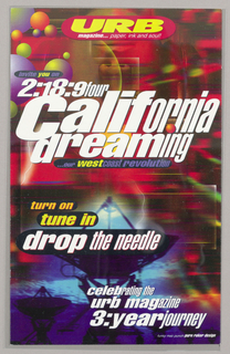 Vertical rectangle with text printed across a colorful abstract image. Upper left, brightly colored spheres.  Text reads: URB magazine… paper ink and soul / invite you to 2:18:9:four California dreaming / our West coast revolution / turn on tune in drop the needle / celebrating the urb magazine 3:year journey