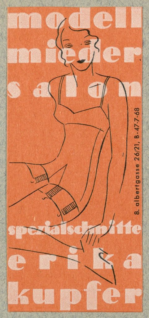 Business Card, Modell Mieder Salon - Erika Kupfer