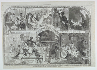 Horizontal view containing a series of eight vignettes with the title appearing over  an arch in the center of the composition.