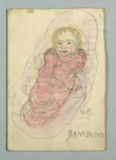Infant figure wrapped in pink fabric.