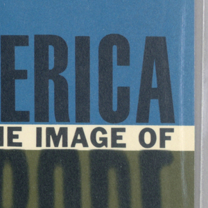 """Horizontal rectangle with ground made up of horizontal bands of blue, white, and brown. Cover design for """"America and the Image of Europe:  Reflections on American Thought"""", by Daniel J. Boorstin, Meridian Books.  Top third of the front cover (in blue, containing AMERICA in black text) is divided from the bottom third (in dark olive green, containing EUROPE, secondary title, and author) with a white strip, containing AND THE IMAGE OF in black.  Design wraps around to back cover."""