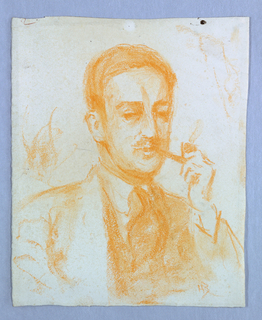 Sketch of a male figure wearing a suit and smoking a pipe.