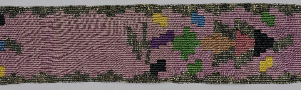 Purple ribbon with geometric ornament in multicolored silks and metallic thread.
