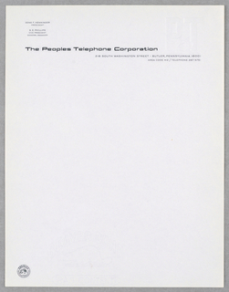 Peoples Telephone Corporation name printed across top of sheet above address.  Embossed logo, upper right: P.T. with image of telephone between letters.
