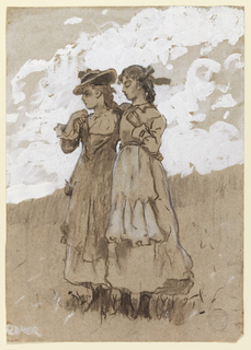 In a grassy field, beneath light white clouds, two young girls stand facing left, holding each other's shoulders.