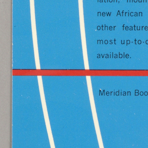 "Cover design for ""The Meridian Compact Atlas of the World."" Cover features longitudinal lines in white and latitudinal lines in red on blue ground with black text."