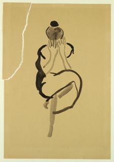 Vertical rectangle. Outline of a woman seated, facing front, one leg crossed over the other, and her hands open in front of her face. Her head, with black hair in a bun, is lowered.
