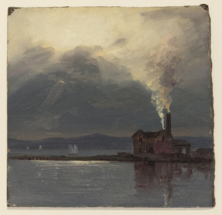Drawing, Hudson River with Factory by Moonlight